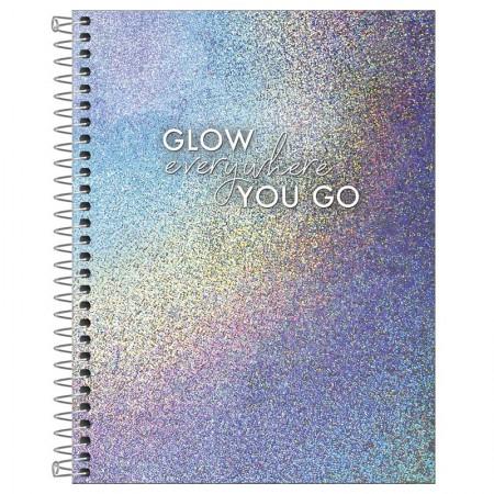 Caderno colegial capa dura 1x1 - 80 folhas - Glow - Stay Colorful - Tilibra