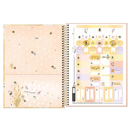 Caderno espiral capa dura universitário 1x1 - 80 folhas - Honey Bee - Capa 2 - Tilibra