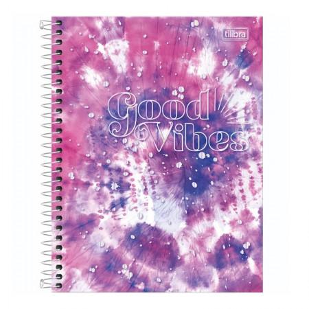 Caderno colegial capa dura 1x1 - 80 folhas - Good Vibes - Capa 4 - Tilibra