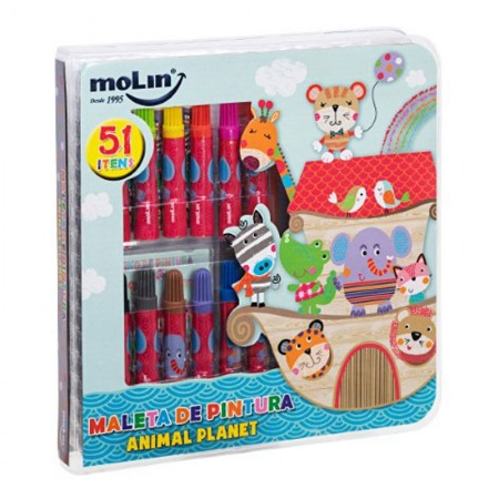 Maleta de pintura Animal Planet - com 51 itens - 22835 - Molin