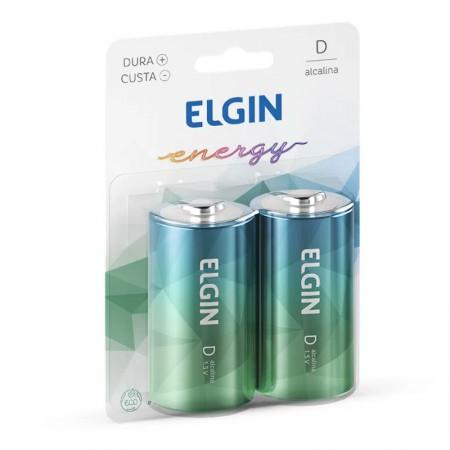 Pilha alcalina grande D - com 2 unidades - Elgin