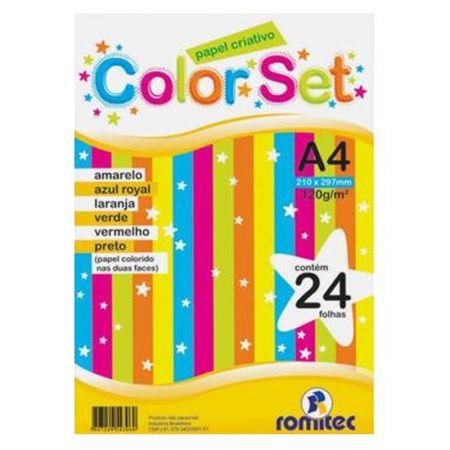 Papel criativo color set A4 - 6 cores - com 24 folhas - Romitec
