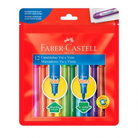 Caneta hidrográfica ponta Vai e Vem - 150112VVZF  - com 12 cores - Faber-Castell