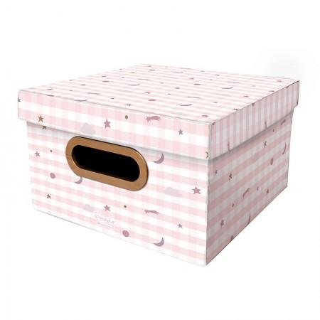 Caixa Organizadora pequena linho - pequenos astros rosa - 2327 - Dello