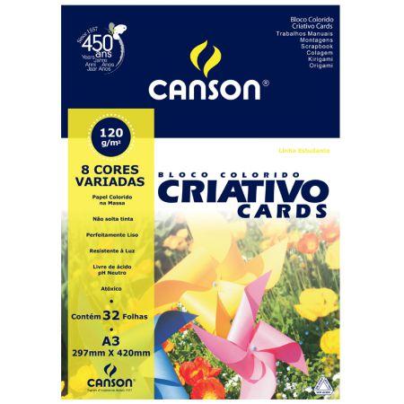 Bloco colorido Criativo Cards A3 com 8 cores - 120 grs - com 32 folhas - Canson