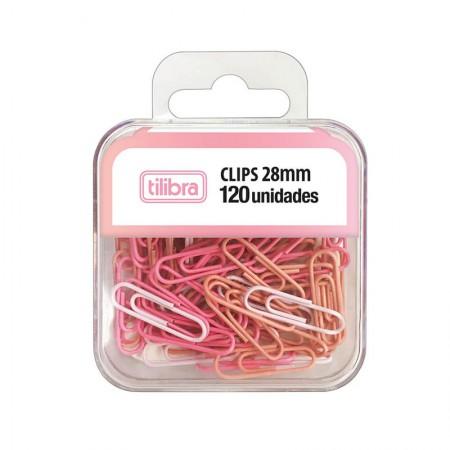 Clips Rosa pastel 28mm - com 120 unidades - 315770 - Tilibra