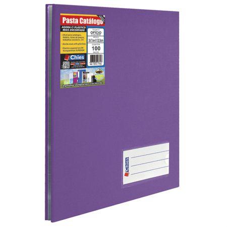 Pasta catálogo ofício 4004 - violeta - com 100 plásticos - Chies