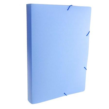 Pasta com aba elástico ofício lombo 40mm - Linho Serena - azul pastel - 0249.BP - Dello