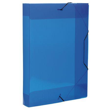Pasta com aba elástico transparente ofício 40mm - azul - 0236.C - Dello