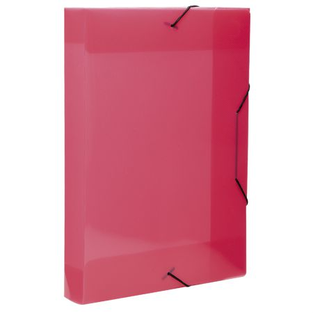 Pasta com aba elástico ofício lombo 40mm - Topline - trasnparente rosa - 0236.Q - Dello