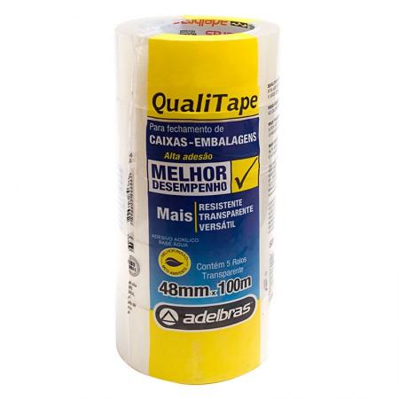 Fita para embalagem transparente - 48mm x 100m - Qualitape - com 5 unidades - Adelbras