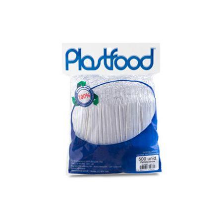 Palheta slim cristal para drink - pacote com 500 unidades - Plastfood