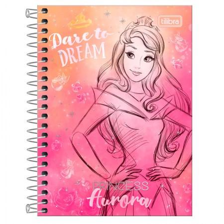 Caderneta espiral capa dura 1/8 - 80 folhas - Princesas Fashion - Aurora - Tilibra
