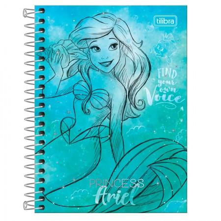 Caderneta espiral capa dura 1/8 - 80 folhas - Princesas Fashion - Ariel - Tilibra