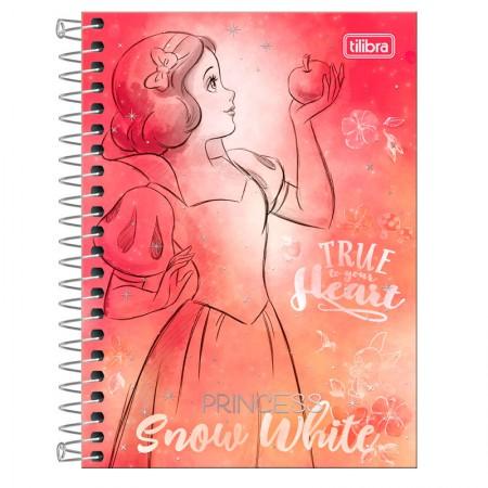 Caderneta espiral capa dura 1/8 - 80 folhas - Princesas Fashion - Branca de neve - Tilibra