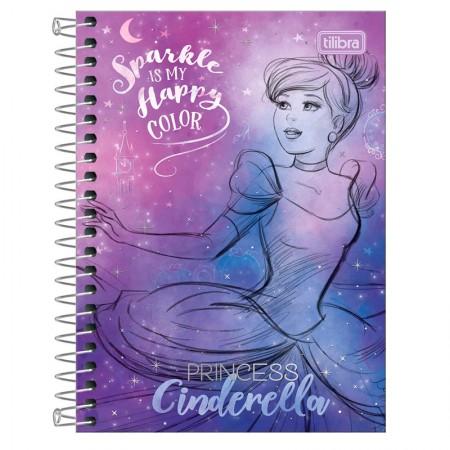 Caderneta espiral capa dura 1/8 - 80 folhas - Princesas Fashion - Cinderella - Tilibra
