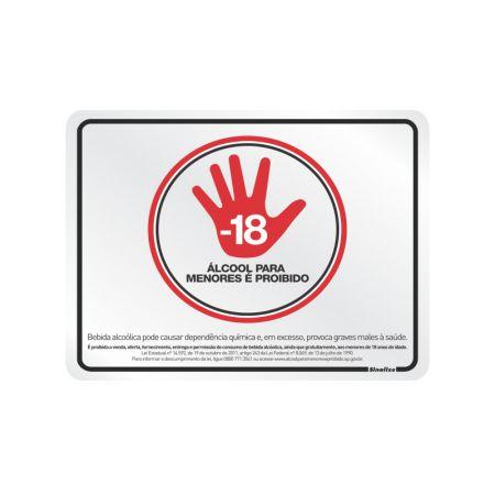 Placa de alumínio álcool para menores é proibido 190SP - Sinalize