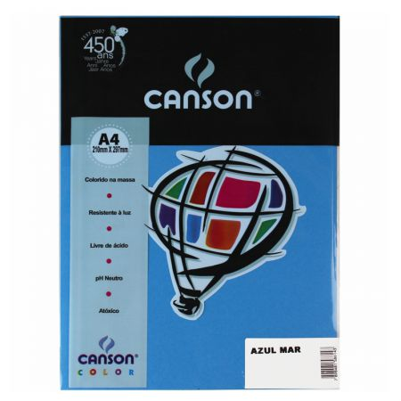 Papel Color Vivaldi A4 180g azul mar 10fls Canson