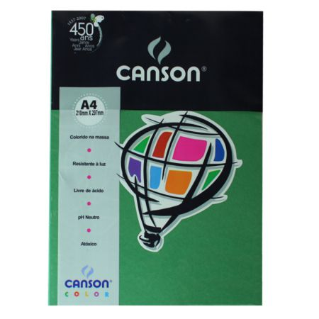 Papel Color Vivaldi A4 180g verde amaz 10fls Canson