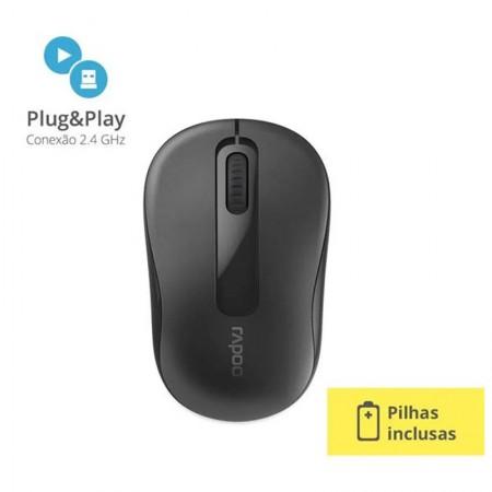 Mouse sem fio 2.4 Ghz preto M10 - Rapoo
