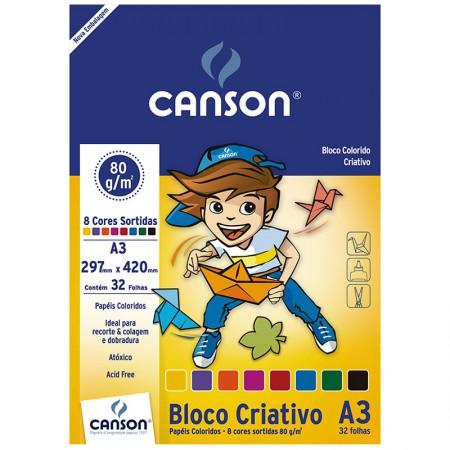 Bloco colorido Criativo A3 80g com 8 cores - com 32 folhas - Canson