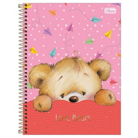 Caderno espiral capa dura universitário 1x1 - 96 folhas - Love Bears - Aviões - Tilibra