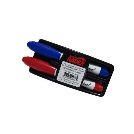Kit apagador e pincel para quadro branco - azul/vermelho - Radex