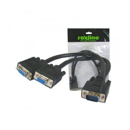 Cabo VGA HD15-M x 2 VGA HD15-F - com 30 cm - 70193 - Roxline