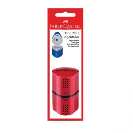 Apontador com coletor vermelho Grip 2001 - SM/MIXGRIPAPO - com 1 unidade - Faber-Castell