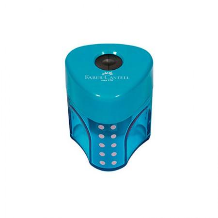 Apontador com coletor mini Grip 2001 - SM/MGRIP - com 1 unidade - Azul - Faber-Castell