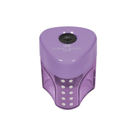 Apontador com coletor mini Grip 2001 - SM/MGRIP - com 1 unidade - Lilás - Faber-Castell