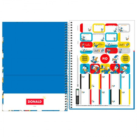 Caderno espiral capa dura universitário 1x1 - 80 folhas - Donald - Capa 3 - Tilibra
