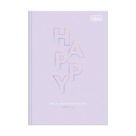 Caderno brochura capa dura 1/4 - 80 folhas - Happy - Coral pastel - Tilibra