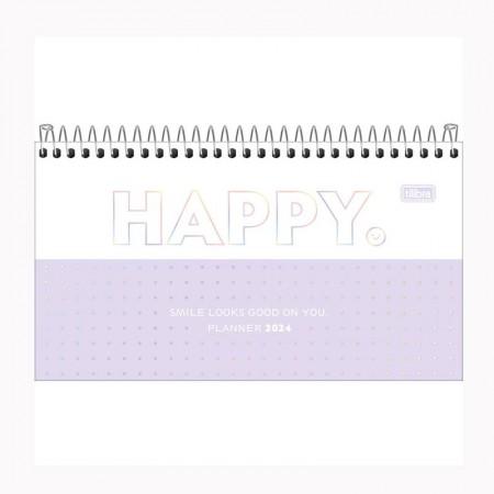 Agenda espiral semanal de bolso Happy 2021 Rosa pastel - Tilibra