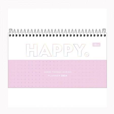 Agenda espiral semanal de bolso Happy 2021 Azul pastel - Tilibra