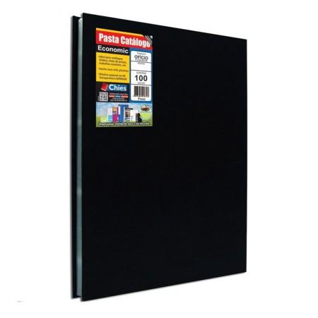 Pasta catálogo ofício economic 5179 preta com 100 plásticos - Chies