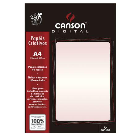 Papel metalizado A4 290g rosa perolado - com 15 folhas - Canson