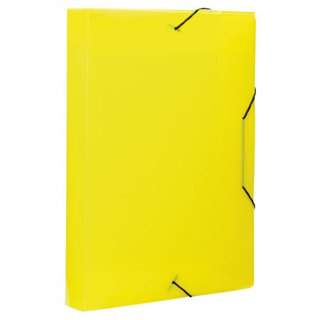 Pasta com aba elástico ofício lombo 40mm - trasnparente amarelo - 0236.A - Dello