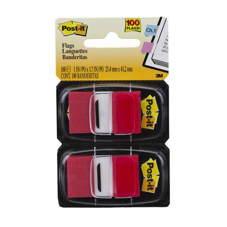 Post-It tape flags - vermelho - com 100 folhas - 3M