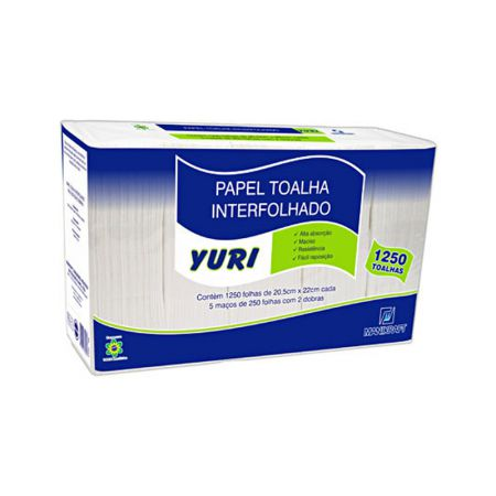 Papel toalha 2 dobras 20,5 x 22 branco 1250 fls Yuri