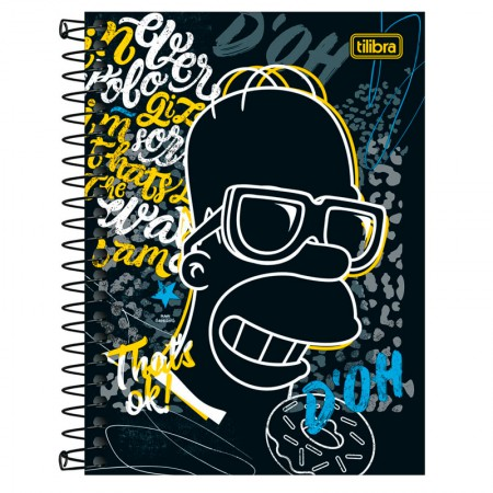 Caderneta espiral capa dura 1/8 - 80 folhas - Simpsons - Capa 2 - Tilibra