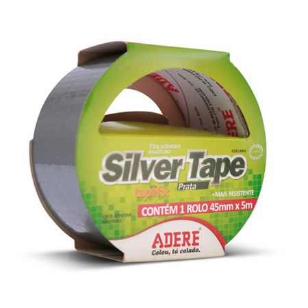 Fita adesiva multiuso Silver Tape prata 45mm x 5m - Adere