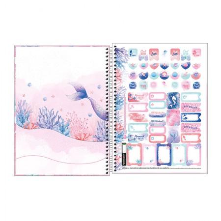 Caderno espiral capa dura universitário 10x1 - 160 folhas - Wonder Sereia - Capa 4 - Tilibra