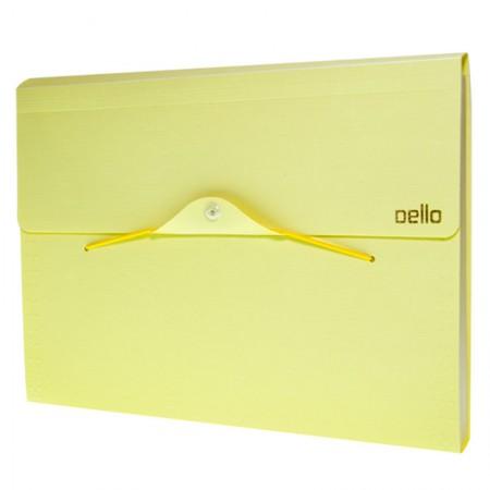Pasta sanfonada A4 com 12 divisórias - Linho serena - Amarelo pastel - 6096.AP - Dello