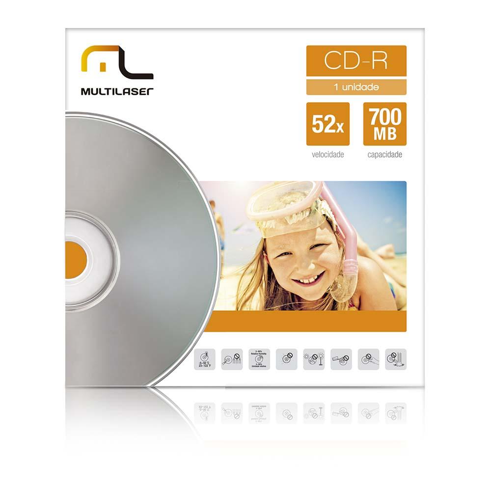 MIDIA CD-R VELOCIDADE 52X UNITARIO EM ENVELOPE MULTILASER - CD006