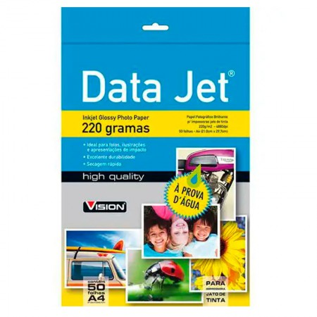 Papel glossy plus A4 220g - 15100 - com 50 folhas - Data Jet