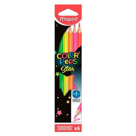 Lápis de cor Color Peps 6 cores - Fluo - 832003 - Maped