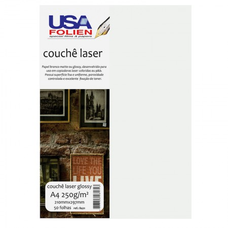 Papel fotográfico couchê glossy A4 250g - 8421 - com 50 folhas - Usa Folien