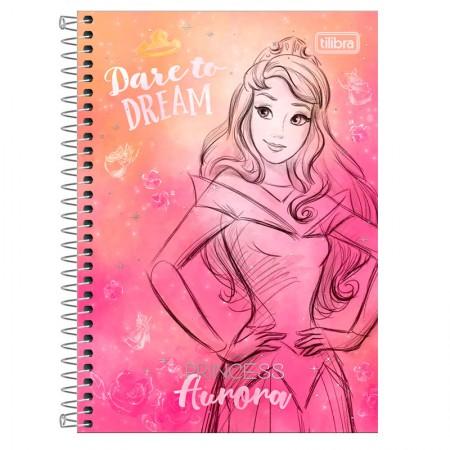 Caderno espiral capa dura 1/4 - 80 folhas - Princesas Fashion - Aurora - Tilibra