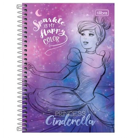Caderno espiral capa dura 1/4 - 80 folhas - Princesas Fashion - Cinderella - Tilibra